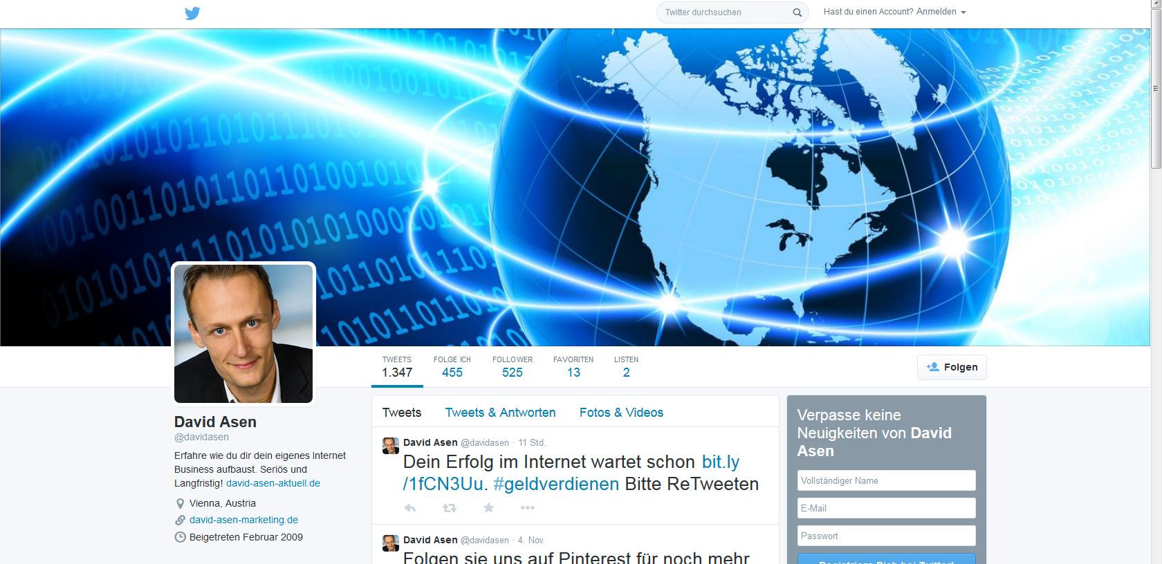 Davids Twitter Profil