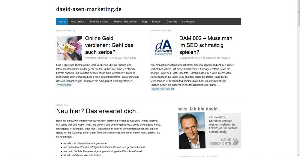 david-asen-marketing.de, wie es auf einem PC dargestellt wird