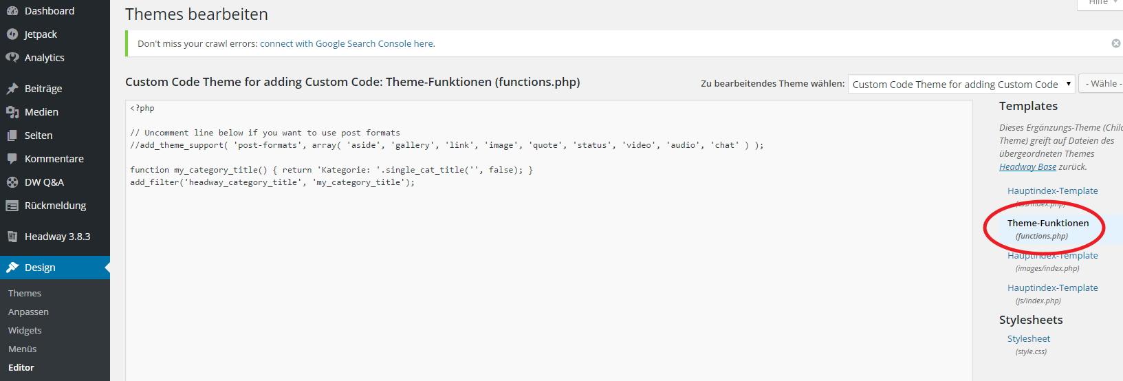 Die functions.php bearbeiten